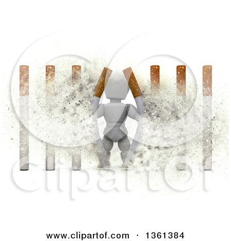 Clipart of a 3d White Character Busting Through Cigarette Bars, with Explosion Effect, on a White Background - Royalty Free Illustration by KJ Pargeter