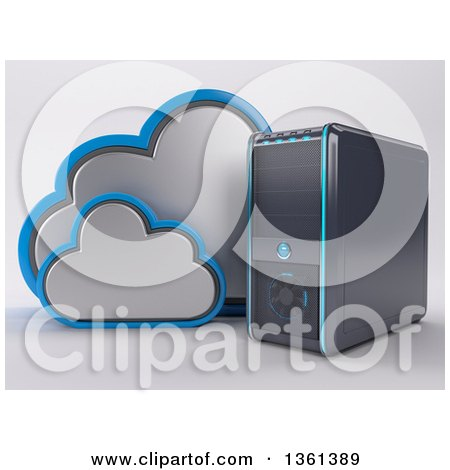 Clipart of a 3d Desktop Computer Tower with Clouds, on a Shaded Background - Royalty Free Illustration by KJ Pargeter