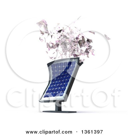 Clipart of a 3d Solar Panel Spitting out Cash Money - Royalty Free Illustration by KJ Pargeter