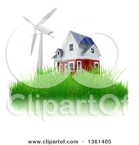Clipart of a 3d House with a Windmill or Turbine on Grass, on a White Background - Royalty Free Illustration by KJ Pargeter