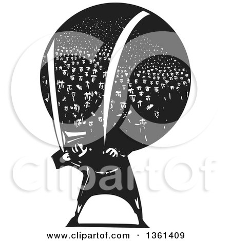 Clipart of a Black and White Woodcut Man Carrying a Heavy Bundle of Refugees on His Back - Royalty Free Vector Illustration by xunantunich