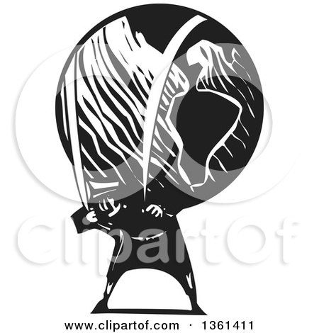 Clipart of a Black and White Woodcut Man Carrying a Heavy Planet Earth on His Back - Royalty Free Vector Illustration by xunantunich