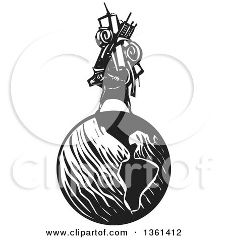 Clipart of a Black and White Woodcut Man Carrying a Heavy Bundle on His Back on Top of Planet Earth - Royalty Free Vector Illustration by xunantunich