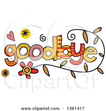 Clipart of Colorful Sketched Goodbye Word Art - Royalty Free Vector Illustration by Prawny