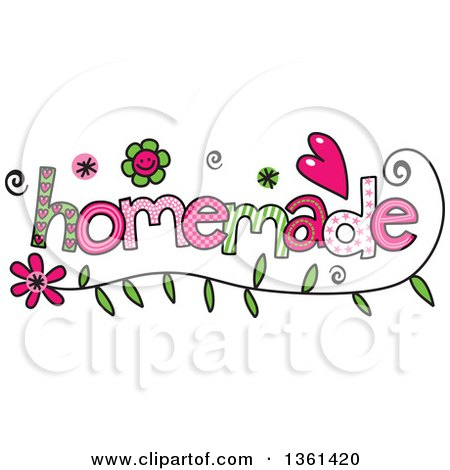 Clipart of Colorful Sketched Homemade Word Art - Royalty Free Vector Illustration by Prawny