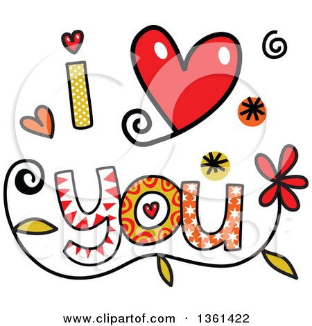 Clipart of Colorful Sketched I Love You Word Art - Royalty Free Vector Illustration by Prawny