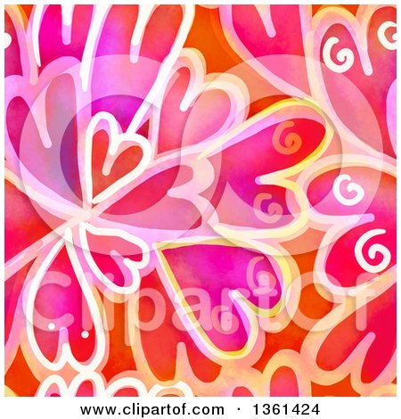Clipart of a Seamless Background Pattern of Painted Hearts - Royalty Free Illustration by Prawny