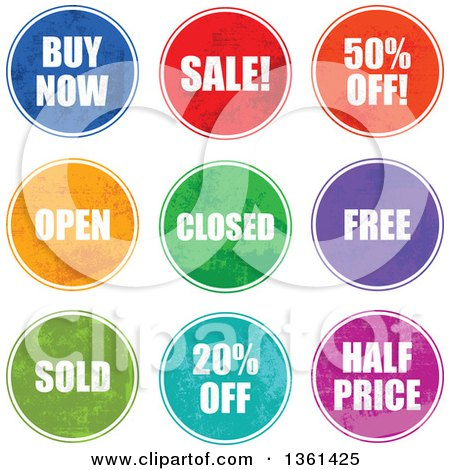 Clipart of Colorful Round Grungy Retail Sale Icon Signs - Royalty Free Vector Illustration by Prawny