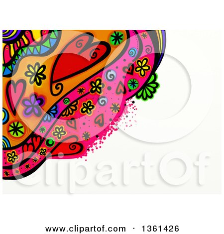 Clipart of a Heart and Flower Doodle Border with White Text Space - Royalty Free Illustration by Prawny
