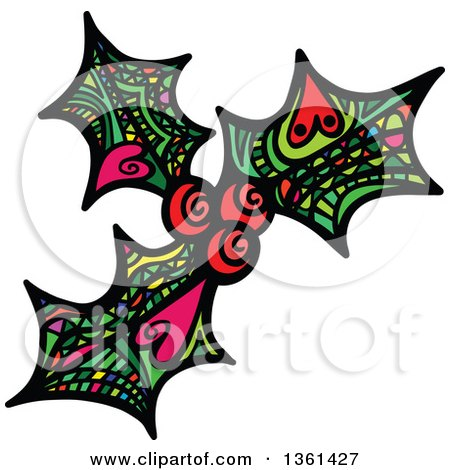 Clipart of Colorful Patterned Folk Art Christmas Holly and Berry - Royalty Free Vector Illustration by Prawny