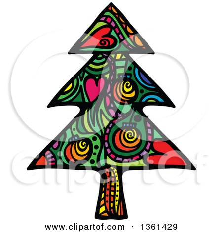 Clipart of a Colorful Patterned Folk Art Christmas Tree - Royalty Free Vector Illustration by Prawny