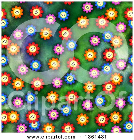 Clipart of a Seamless Background Pattern of Happy Colorful Daisy Flowers on Green - Royalty Free Illustration by Prawny