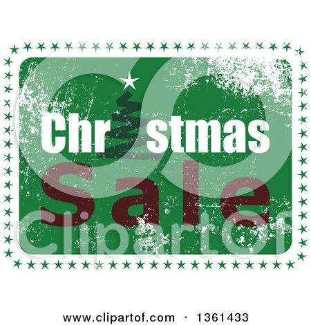 Clipart of a Rubber Stamp Styled Green Christmas Sale Design with a Tree and Stars - Royalty Free Vector Illustration by Prawny