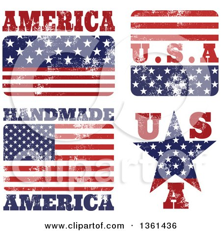 Clipart of Rubber Stamp Styled American Flag Designs - Royalty Free Vector Illustration by Prawny