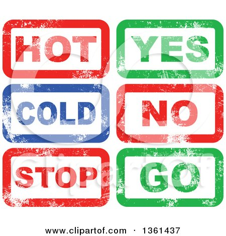 Clipart of Rubber Stamp Styled Opposites Hot, Cold, Yes, No, Stop Go Designs - Royalty Free Vector Illustration by Prawny