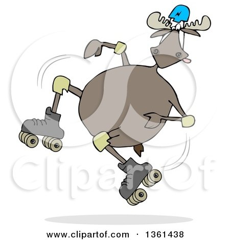 Clipart of a Cartoon Moose Falling While Roller Skating - Royalty Free Illustration by djart