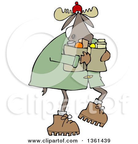 Clipart of a Cartoon Winter Moose Carrying Groceries - Royalty Free Vector Illustration by djart