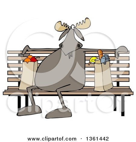 Clipart of a Cartoon Moose Sitting on a Park Bench with Grocery Bags - Royalty Free Illustration by djart