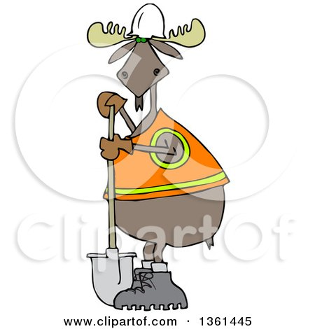 Clipart of a Cartoon Moose Contractor Holding a Shovel and Wearing a Safety Vest - Royalty Free Vector Illustration by djart