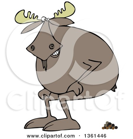 Clipart of a Cartoon Moose Squatting and Pooping - Royalty Free Vector Illustration by djart