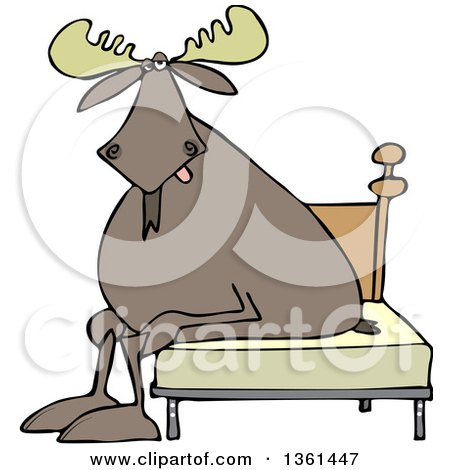 Clipart of a Cartoon Tired Moose Sitting on a Bed - Royalty Free Vector Illustration by djart