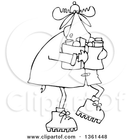 Clipart of a Cartoon Black and White Lineart Winter Moose Carrying Groceries - Royalty Free Vector Illustration by djart