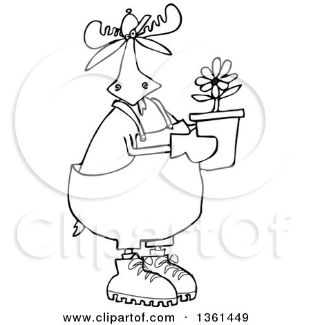 Clipart Of A Cartoon Black And White Lineart Moose Gardener Holding