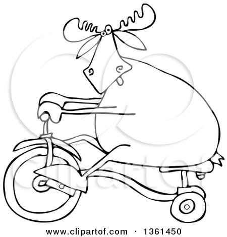 Clipart of a Cartoon Black and White Lineart Moose Riding a Tricycle - Royalty Free Vector Illustration by djart