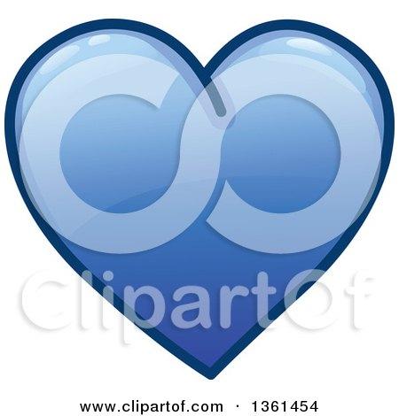Clipart of a Shiny Blue Heart Icon - Royalty Free Vector Illustration by yayayoyo