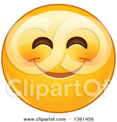 Clipart of a Cartoon Yellow Smiley Face Emoji Smizing - Royalty Free Vector Illustration by yayayoyo
