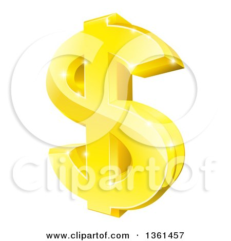 3d Sparkly Gold Dollar Currency Symbol Posters, Art Prints