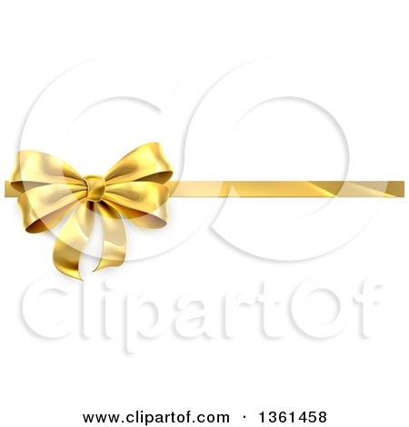 Clipart of a 3d Perfect Gold Christmas, Birthday or Other Holiday Bow and Ribbon on a Gift, over Shaded White - Royalty Free Vector Illustration by AtStockIllustration