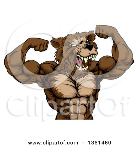 Clipart Of A Angry Buff Muscular Grizzly Bear Man Flexing His Muscles From The Waist Up Royalty Free Vector Illustration