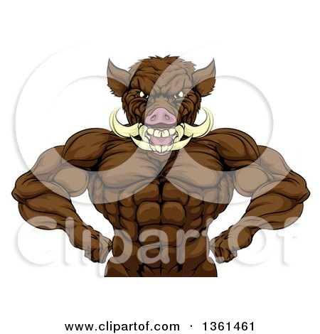 Clipart of a Tough Razorback Boar Man Flexing His Muscles, from the Waist up - Royalty Free Vector Illustration by AtStockIllustration