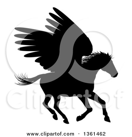 Clipart of a Black Silhouetted Rearing Winged Pegasus Horse - Royalty Free Vector Illustration by AtStockIllustration
