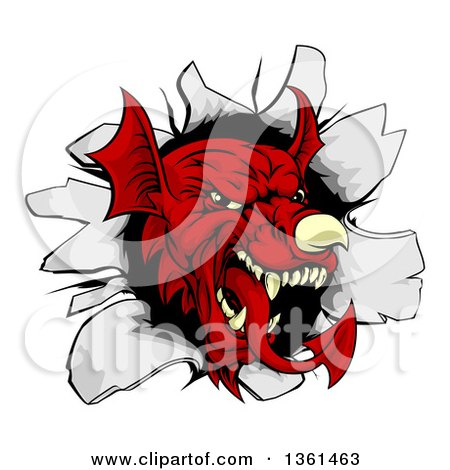 Clipart of a Fierce Red Welsh Dragon Mascot Head Breaking Through a Wall - Royalty Free Vector Illustration by AtStockIllustration