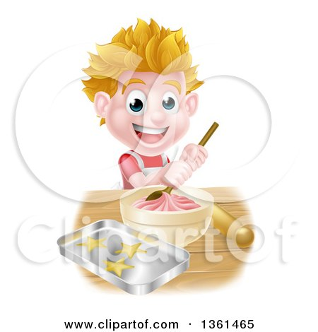 Clipart Of A Happy Blond Caucasian Boy Making Frosting And Baking Cookies Royalty Free Vector Illustration