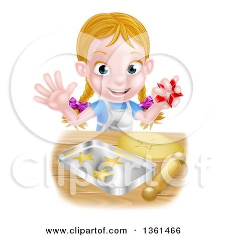 Clipart Of A Happy Blond Caucasian Girl Baking Cookies And Holding A Cutter Royalty Free Vector Illustration