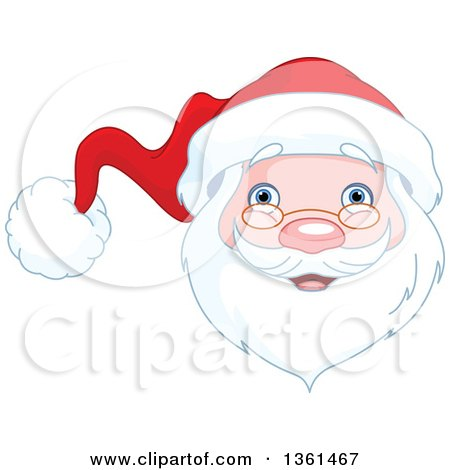 Clipart Of A Jolly Christmas Santa Face Royalty Free Vector Illustration