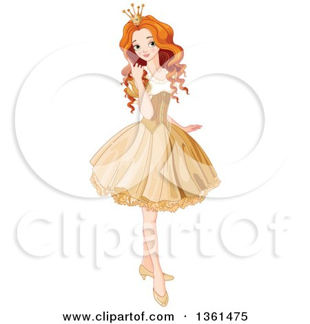 Clipart of a Pretty Red Haired Caucasian Princess Posing in a Short Golden Dress - Royalty Free Vector Illustration by Pushkin