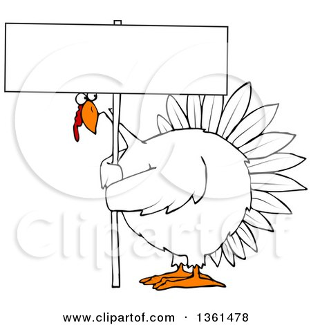 Clipart of a Cartoon Chubby White Thanksgiving Turkey Bird Holding a Blank Sign - Royalty Free Vector Illustration by djart