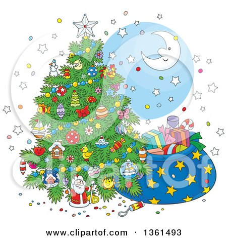Clipart of a Cartoon Crescent Moon and Stars Around a Christmas Tree and Santas Sack - Royalty Free Vector Illustration by Alex Bannykh