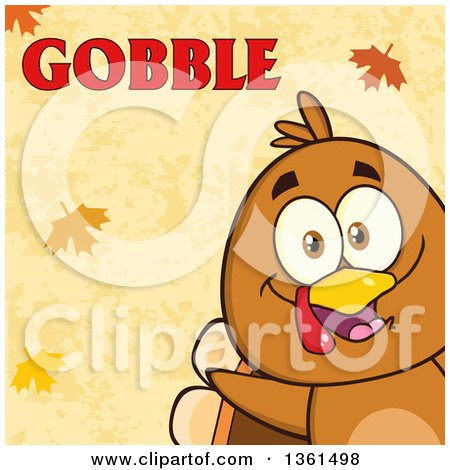 Clipart of a Cartoon Cute Thanksgiving Turkey Bird Peeking from a Corner over Autumn Leaves and Gobble Text - Royalty Free Vector Illustration by Hit Toon