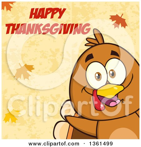 Clipart of a Cartoon Cute Thanksgiving Turkey Bird Peeking from a Corner over Autumn Leaves and Happy Thanksgiving Text - Royalty Free Vector Illustration by Hit Toon