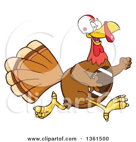 Clipart of a Cartoon Thanksgiving Turkey Bird Super Bowl Football Player Running - Royalty Free Vector Illustration by Hit Toon