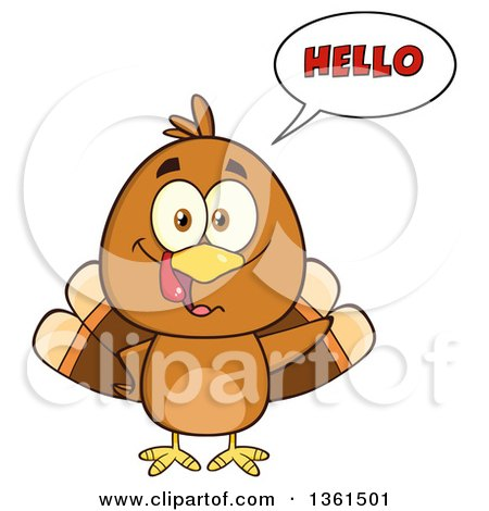Clipart of a Cartoon Cute Thanksgiving Turkey Bird Saying Hello - Royalty Free Vector Illustration by Hit Toon