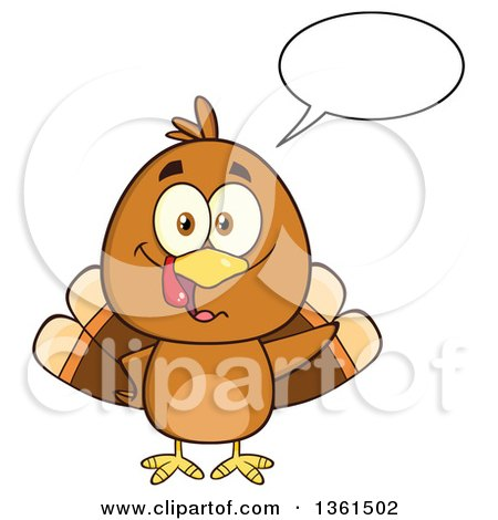 Clipart of a Cartoon Cute Thanksgiving Turkey Bird Talking - Royalty Free Vector Illustration by Hit Toon