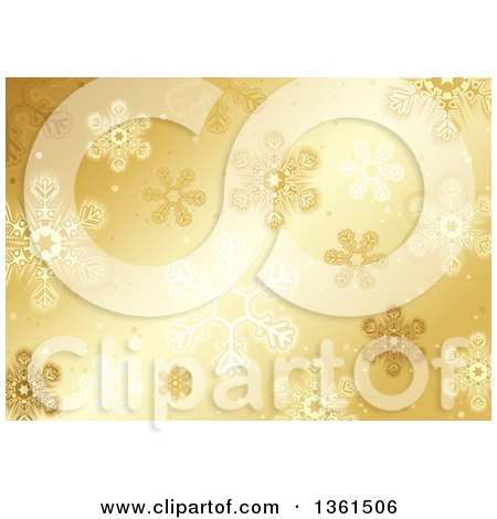Clipart of a Christmas Background of Snowflakes on Gold - Royalty Free Vector Illustration by dero