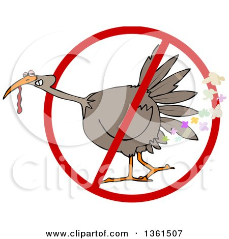 Clipart of a Cartoon Brown Thanksgiving Turkey Bird Farting in a Restricted Symbol - Royalty Free Vector Illustration by djart