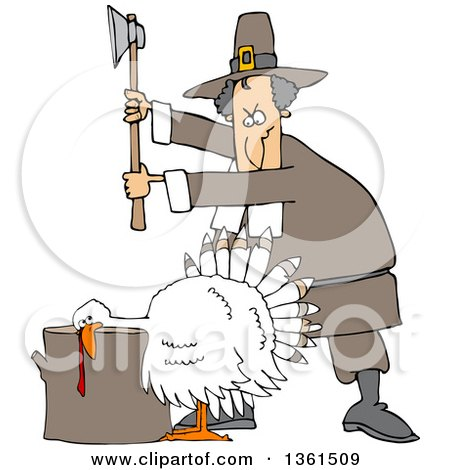 Clipart of a Cartoon Pilgrim Ready to Chop the Head off of a White Thanksgiving Turkey Bird Laying His Head on a Chopping Block - Royalty Free Vector Illustration by djart